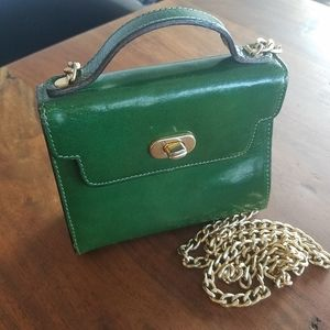 Vintage Green Leather Gold Chain Minibag Crossbody